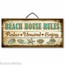 BEACH HOUSE RULES, Nautical Reclaimed Pallet Pine Wood Sign Hang or Easel, USA