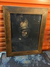 """Antique Print """"Man with Golden Helmet"""" by Rembrandt in Beautiful Oak Frame"""