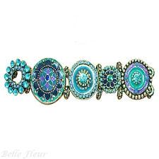 Secret Garden Floral Disc Stretch Bracelet Shades of Blue