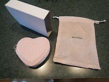 PANDORA Pink Heart Shape Zippered Jewelry Case Box Pouch Travel Presentation