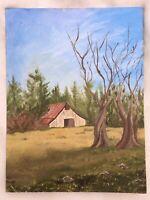 "Vintage Original Artwork 12H"" x 16W"" Acrylic Painting on Canvas Farmhouse Barn"