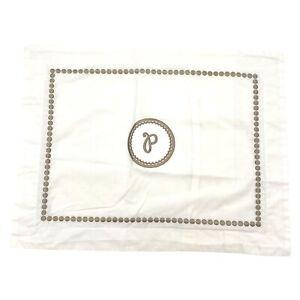 "Pottery Barn Pearl Embroidered Pillow Cover/Sham Tan Applique Mono ""P"" 12 x 16in"