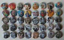 Vintage Circus Freaks huge 40 Pins Pin Lot carnival sideshow head sword piercing