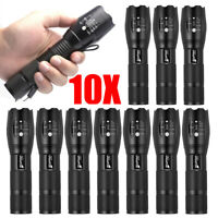 10pcs Tactical 18650 Flashlight Torch T6 High Powered 5 Modes Zoomable Aluminum