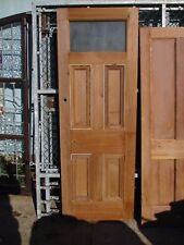"Victorian TALL pitch pine 5-panel part Glazed door 83 1/2"" x 30"" x 2"""