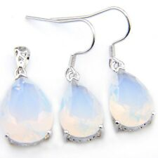 2 Pcs Lots Water Drop Rainbow Moonstone Gemstone Silver Pendant Dangle Earrings