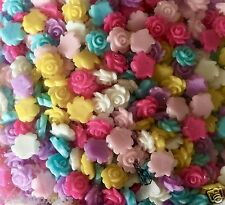 40 X 7mm Small Resin Rose Flower Flat Back CABOCHON Assorted Colours Post
