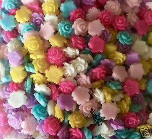 40 x 6-7mm small resin rose flower flat back cabochon Assorted colours FREE POST