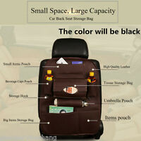 Car Back Seat Tidy Organiser Multi-Pocket Holder Pouch Storage Bag Leather Black