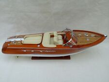 "Quality Riva Aquarama 21"" (L50cm) Cream Seat Handmade Wood Model Boat Home Decor"