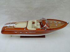 "Quality Riva Aquarama 21"" (L50cm) Cream Seat Handmade Wood Model Boat Home Decor"