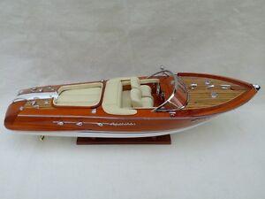 "Quality Riva Aquarama 21"" (L50cm) Cream Seat Wood Model Boat Free Shipping"