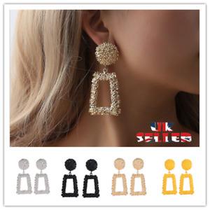UK Stock Punk Gold Metal Dangle Earrings Jewellery Geometric Big Drop Earrings
