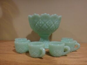 WESTMORELAND THUMBELINA JADEITE MINIATURE CHILDS 7 PC PUNCH BOWL SET MINT