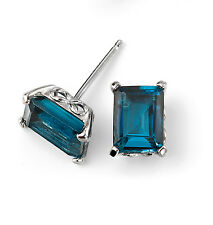 9CT White Gold  Blue Topaz Earrings New Hallmarked & GIftbox