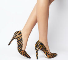 Womens Office Harlequinn Waist Court Heels Tiger Pony With Silver Heels