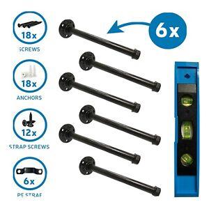 Set Of 6 (10in)Industrial Pipe Shelf Brackets W/ FREE Leveler