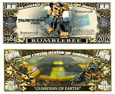 Transformers BumbleBee Million Dollar Bill Fake Funny Money Note + FREE SLEEVE