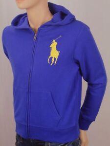 POLO Ralph Lauren Kids Royal Blue Big Yellow Pony Hoodie NWT
