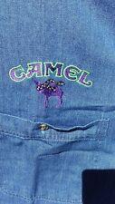 Rare Vtg Mens Camel Cigarettes Logo Denim L/S Shirt Racing Blue Size M