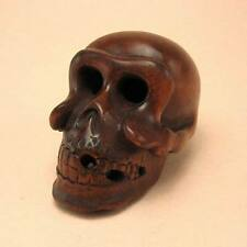 Boxwood Wood Netsuke SKULL Figurine Carving (WN546)
