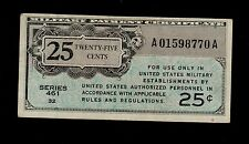 UNITED STATES  25 CENTS ( 1946 ) Military Payment Certificate PICK # M3  VF.