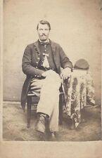 CDV OF CIVIL WAR SOLDIER IN FULL UNIFORM POSING IN A CHAIR -ORIGINAL PRINT