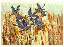 GUY MACCOY Signed & Rare Vintage 1950s-60s Original Ltd Ed Serigraph BLACK BIRDS
