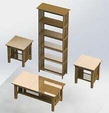 Mission Style Furniture Woodworking Plans - 3pcs bookshelf, coffee,& end table