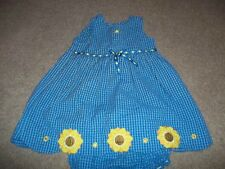 Beautiful summer dress blue checked with yellow sunflowers and ribbon trim Excel
