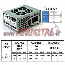 ALIMENTATORE PC VULTECH MICRO ATX 500 WATT 20+4p per CASE MINI ITX SATA IDE USB