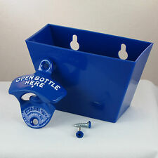 Blue OPEN BOTTLE HERE Combo Starr X Wall Mount Bottle Opener / Cap Catcher Set
