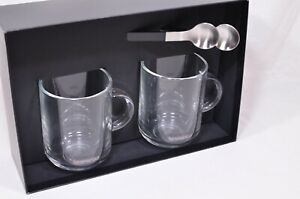 Nespresso VERTUO Glass Coffee Mugs and Spoons Set