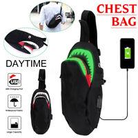 Men's Luminous Shoulder Bag Sling Chest Pack w/USB Charging Crossbody Handbag