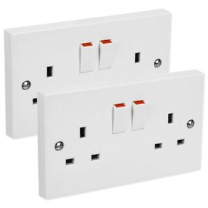 2x DOUBLE PLUG SOCKETS 2 Gang Switch White Plastic 10A Appliance Outlet Plates