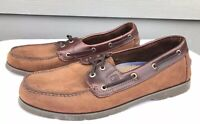 Sperry Top-Sider Men's Leather 2-Eye Brown Moc Toe Boat Shoes Size US 12 M