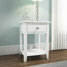 White Bedside Table 1 Drawer Wooden Cabinet Nightstand Bedroom Storage