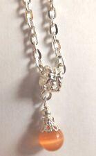 collier argenté 47 cm avec pendentif perle orange