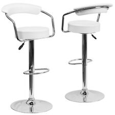 Set of (2) Bar Stool Adjustable Counter Swivel Footrest Pub Style Stools, White