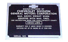 1951 1952  Door Plate Chevrolet Chevy 1/2 ton Pickup Trucks 51 52  EACH