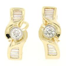 14k Yellow Gold 1.70ctw VS1 Round & Baguette Cut Diamond Bypass Omega Earrings