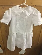 Vintage White Embroidered Dress with Lace Trim ~ Child's Size 6-8