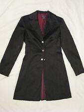 Bebe Black Stretch Satin Coat Jacket 'Ebony Black' Sz S - VERY Rare Style HTF