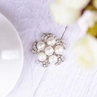 1PC rhinestone crystal faux pearl shoe clips women bridal shoes buckle decor.JO