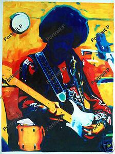 Jimi Hendrix Oil Painting Music Art Textured Hand-Painted on Canvas 24x32