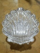 """Vintage 4"""" Glass Crystal Shell Trinket Dish With Lid"""