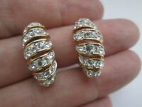 Vintage Attwood & Sawyer Gold Plated Sparkly Crystal Glass A&S Clip On Earrings