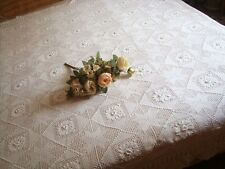 Gorgeous Hand 3D Flower Crochet Bed Cover Cotton Bedspread Coverlet White
