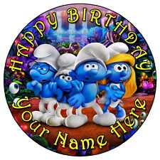 "THE SMURFS PARTY - 7.5"" PERSONALISED EDIBLE ICING CAKE TOPPER"