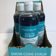 Lot of 5 New Sealed Nostalgia Snow Cone Syrup Sugar Free Blue Raspberry Flavor